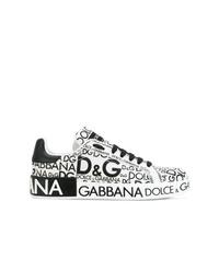Baskets basses en cuir imprimées blanches et noires Dolce & Gabbana