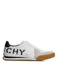 Baskets basses en cuir imprimées blanches et noires Givenchy