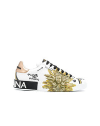 Baskets basses en cuir imprimées blanches Dolce & Gabbana