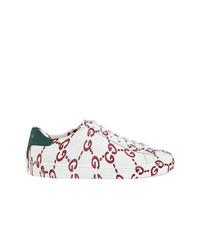 Baskets basses en cuir imprimées blanches Gucci