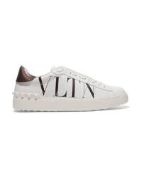 Baskets basses en cuir imprimées blanches Valentino