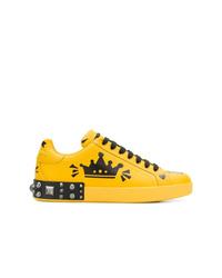 Baskets basses en cuir imprimées jaunes Dolce & Gabbana