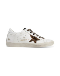 Baskets basses en cuir imprimées léopard blanches Golden Goose Deluxe Brand