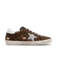 Baskets basses en cuir imprimées léopard marron foncé Golden Goose Deluxe Brand