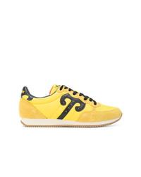 Baskets basses en cuir jaunes Wushu