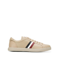 Baskets basses en cuir marron clair Moncler