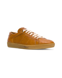 Baskets basses en cuir marron clair Saint Laurent