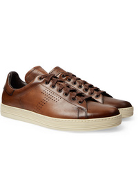 Baskets basses en cuir marron Tom Ford