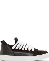 Baskets basses en cuir noires et blanches Kris Van Assche