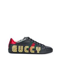 Baskets basses en cuir noires Gucci