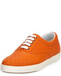 Baskets basses en cuir orange