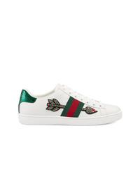 Baskets basses en cuir ornées blanches Gucci