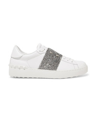 Baskets basses en cuir ornées blanches Valentino