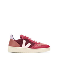 Baskets basses en cuir rouges Veja