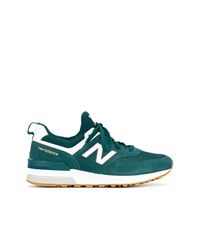 Baskets basses en daim bleu canard New Balance