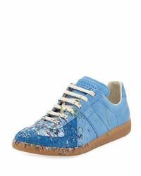 Baskets basses en daim bleu clair
