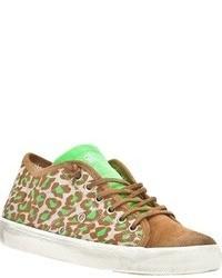 Baskets basses en daim imprimées léopard marron clair