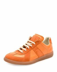 Baskets basses en daim orange