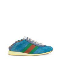 Baskets basses en daim turquoise Gucci