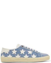 Baskets basses en denim bleu clair Saint Laurent