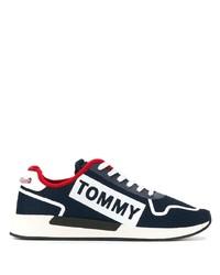 Baskets basses en toile bleu marine et blanc Tommy Jeans