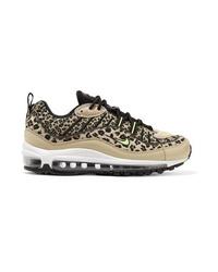 Baskets basses en toile imprimées léopard marron clair
