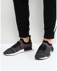 Baskets basses en toile imprimées noires et blanches adidas Originals