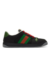 Baskets basses en toile imprimées noires Gucci
