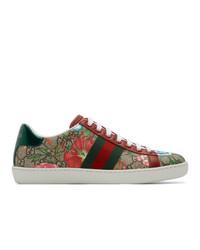 Baskets basses en toile multicolores Gucci