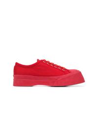 Baskets basses en toile rouges Marni