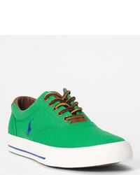 Baskets basses en toile vertes