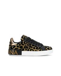 Baskets basses imprimées léopard dorées Dolce & Gabbana