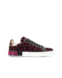 Baskets basses imprimées léopard fuchsia Dolce & Gabbana