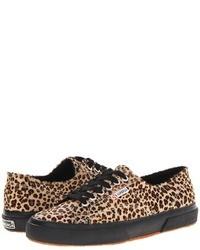 Baskets basses imprimées léopard marron clair