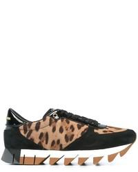 Baskets basses imprimées léopard marron clair Dolce & Gabbana