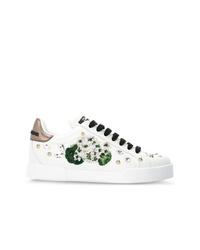 Baskets basses ornées blanches Dolce & Gabbana