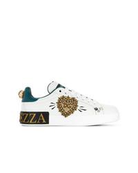 Baskets basses pailletées ornées blanches Dolce & Gabbana