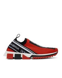 Baskets basses rouge et noir Dolce and Gabbana
