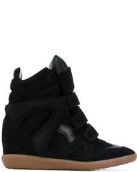 Baskets compensées en cuir noires Isabel Marant