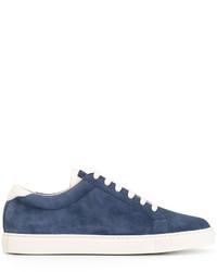 Baskets en cuir bleu marine Brunello Cucinelli