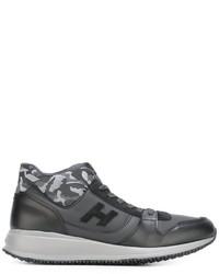 Baskets en cuir camouflage noires Hogan