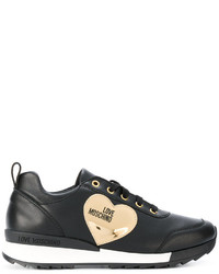 Baskets en cuir noires Love Moschino