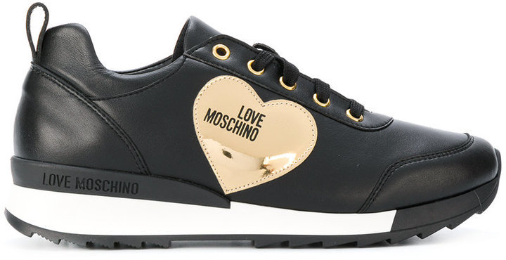 Baskets en cuir noires Love Moschino