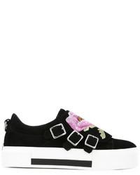 Baskets en daim à fleurs noires Alexander McQueen