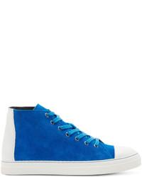 Baskets montantes blanc et bleu Pierre Hardy
