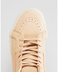 Baskets montantes en cuir beiges Vans