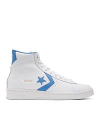 Baskets montantes en cuir blanc et bleu Converse