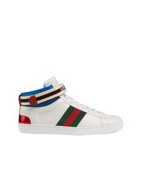 Baskets montantes en cuir blanches Gucci