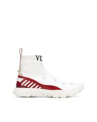 Baskets montantes en cuir blanches Valentino