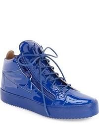 Baskets montantes en cuir bleues